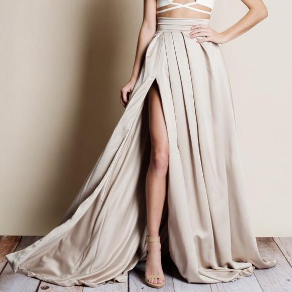 6116303db7 Skirts | Nwt Lux Pleated Satin Maxi Skirt | Poshmark