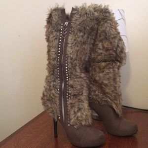 Brown tan  Suede faux fur studded high boots