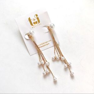 Long Goldtone and Faux Pearl Dangling Earrings