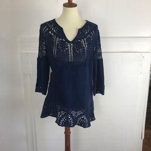 Boho Crochet blue sweater tunic small