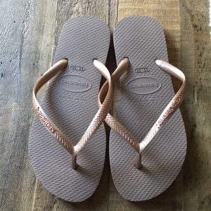 Rose Gold Slim Havianas Flip Flops