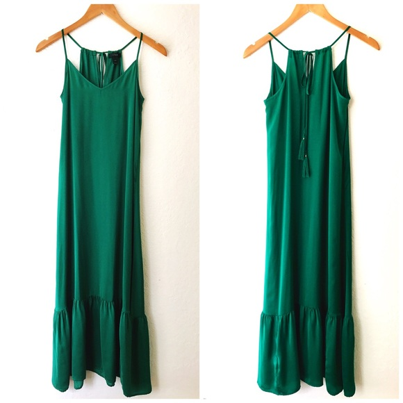 dc5950c243f J. Crew Dresses   Skirts - J. Crew Green Sleeveless Maxi Dress Ruffle Detail