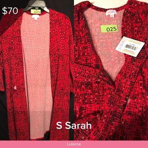 NWT Lularoe Sarah Cardigan Small Red and Black