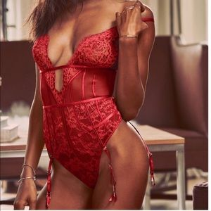 VS lingerie Garter teddy red lace Strappy thong