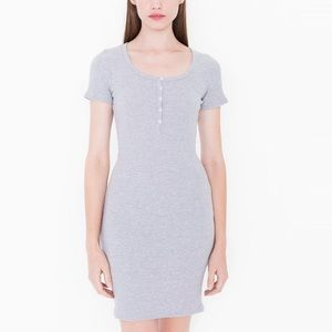 American Apparel Short Sleeve Henley Dress in gray