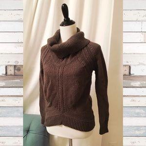 Loft sweater size S olive green cowl neck knit