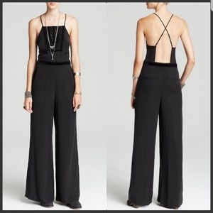 Free People Black Tuxedo Jumpsuit Wide Leg