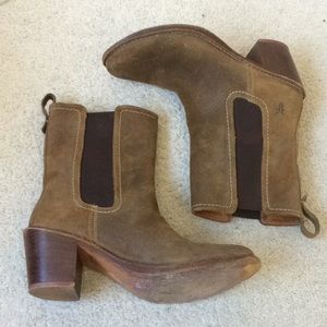 Frye Suede Pull On Heeled Booties
