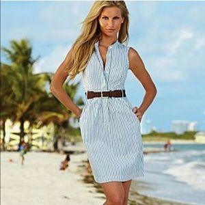 Venus Blue and White Striped Collared Dress