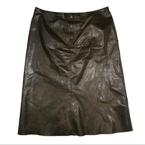 Banana Republic Leather A-Line Army Green Skirt