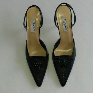 Isaac 9.5 Leather Kitten Heel Slingbacks