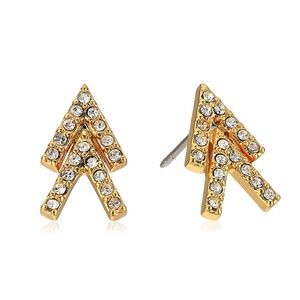 New Rebecca Minkoff Gold and Pave Stud Earrings