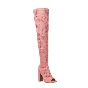 Shoes - Mauve Over The Knee Perforated Boots