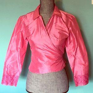 Ann Taylor Silk Wrap Blouse Top 2 Dressy Elegant