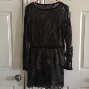 Guess size 6 olive and black lace dress