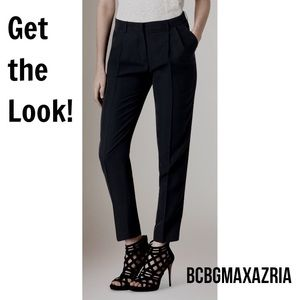BCBGMaxAzria Silk Ankle Pants Navy Blue Trouser