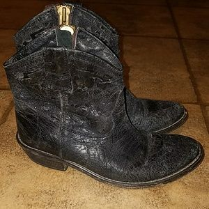 Steven sz 6.5 blk distressed leather booties