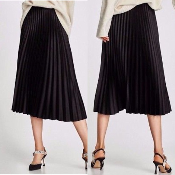 2cafabc70 Zara Skirts | Black Accordion Pleated Satin Skirt | Poshmark