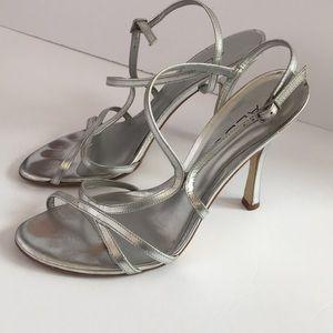 Aldo New Year's strappy silver heels stilettos 7