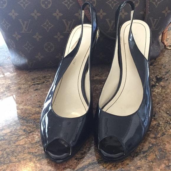 Patent Black Slingback Peep Toe 4 Heel