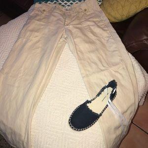 ❤️Banana Republic cream pants Size 8 side pockets
