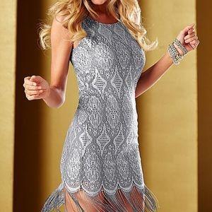 Venus Grey Silver Lace Fringe Dress