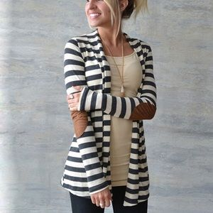 Sweaters - Striped Elbow Patch Cardigan