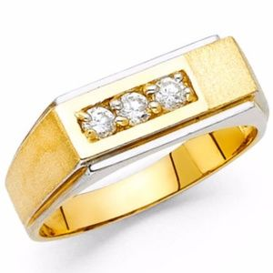 14k Yellow Gold 8 mm Round Cut Cluster Ring Band