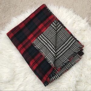 ZARA Two-Side Plaid Houndstooth Blanket Scarf