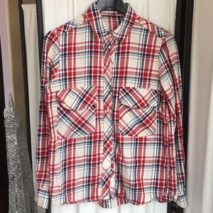 Zara Woman plaid flannel red/cream/Navy M