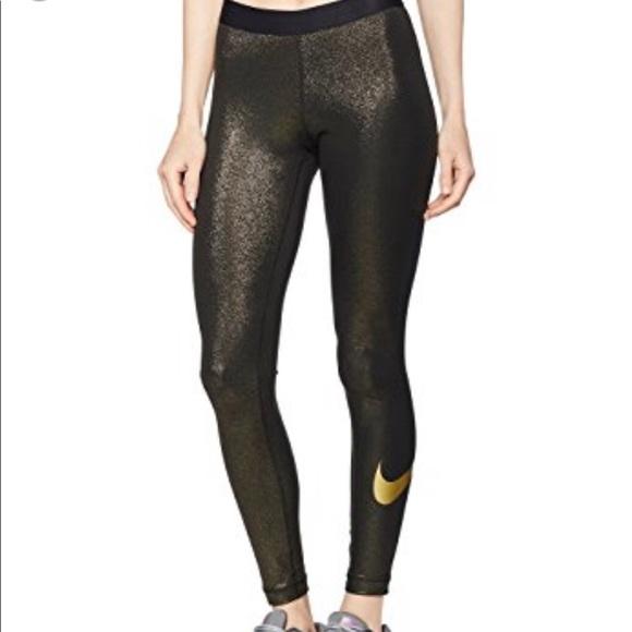 9bc844c32bb04 Nike Pants | Nwt Pro Cool Sparkle Gold Tights Leggings | Poshmark