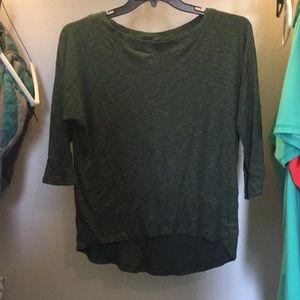 Forest green. Hi-low, quarter sleeve top