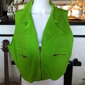 Vintage Neon Green Denim Vest