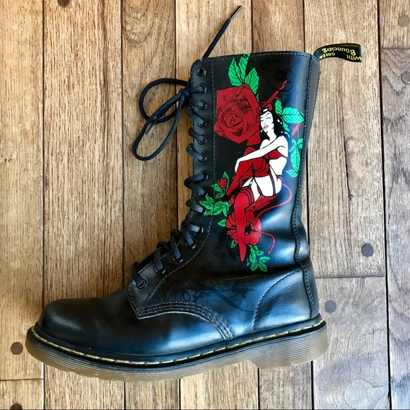 14 eyelet Doc Marten's Burlesque Pin Up Boots
