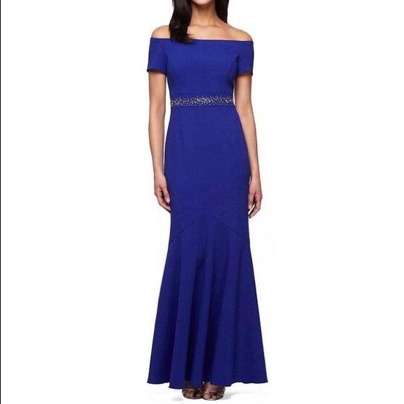 5e7d9a4aa815 Blue   silver off shoulder mermaid gown dress