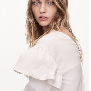 Zara's Join Life cream ruffle sleeve blouse
