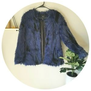 🍁Faux Blue Fur Coat