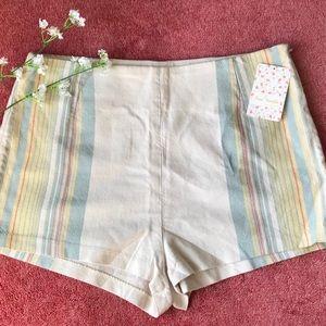 Free People Ivory Combo Shorts Sz 10