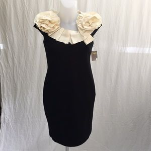 Black with Ivory Taylor mid length Dress Size 4