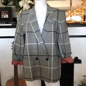 Vintage Plaid Double Breasted Blazer
