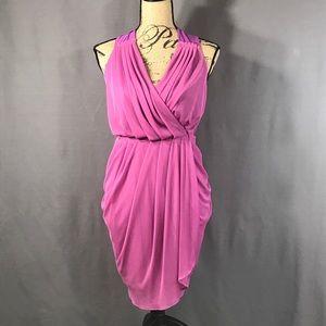 ASOS Chiffon Drape Mini Dress in Pink/Purple