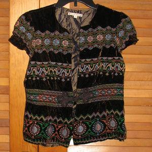 Brown Embroidered Velvet Short Sleeved Jacket