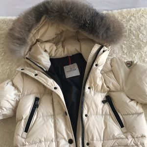 Auth. Moncler Fur-Trimmed Puffer Coat (size 2)