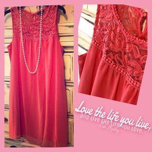 Dresses & Skirts - 💕Bubble  gum pink lace tunic dress Sz:S