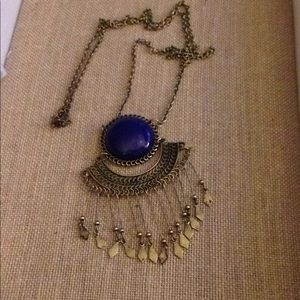 "Jewelry - 32"" Blue Stone and Brass Necklace"