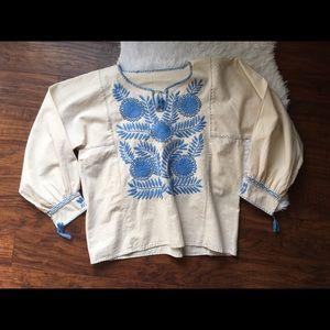 Handmade Vintage Embroidered Floral Top Blouse