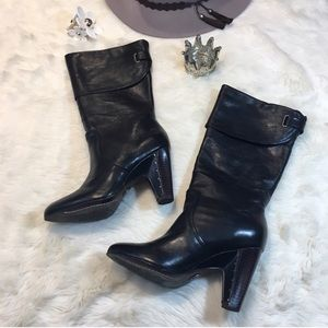 Frye Black Leather Bethany Cuff Shortie Boots