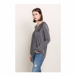 Mystree Tops - Lace Trim Henley Top