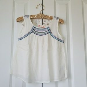 Roxy Girl Dotty Folk Sleeveless White/Blue Top