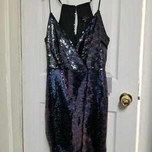 Dark tone/multi-colored sequin dress